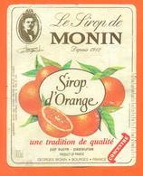 étiquette De Sirop D'orange Monin Georges Monin à Bourges - 100 Cl - Fruits & Vegetables
