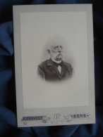 Photo  Cabinet Prevost à Sens - Portrait De Nuage De Mr Sepot, Moustache Blanche à La François Joseph Vers 1895 L389 - Photographs