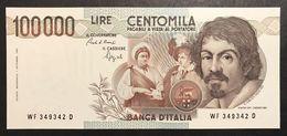 100000 Lire Caravaggio I° Tipo 1993 F  Q.fds Ottimo Biglietto LOTTO 2331 - [ 2] 1946-… Republik