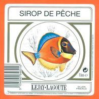étiquette De Sirop De Peche Lejay Lagoute à Dijon - 100 Cl - Poisson Exotique - Fruits & Vegetables