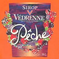 étiquette De Sirop De Peche Vedrenne à Nuits Saint Georges - 100 Cl - Fruits & Vegetables