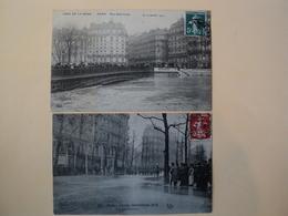 PAIRE DE CPA INONDATIONS DE PARIS 1910 PONT SAINT LOUIS / BOULEVARD HAUSSMANN.  CLICHES ELD  / FF. TIMBRES TELS 5 CENTI - Inondations De 1910