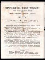 1879 Compagnie Canal Interocéanique M. Ferdinand De Lesseps Via Canal De Suez Brochure (E-47) - World