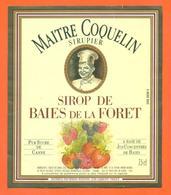 étiquette + Etiq De Dos De Sirop De Baies De La Foret Maitre Coquelin à Lormont - 75 Cl - Fruits Et Légumes