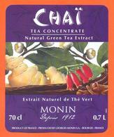 étiquette D'extrait Naturel De Thé Vert Chai Ets Monin à Bourges - 75 Cl - Fruits & Vegetables
