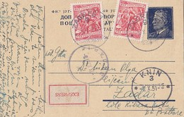 Yugoslavia - Uprated Stationery Sent Express Zagreb 1951 - Ganzsachen