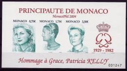 """Monaco Bloc YT 90  Non Dentelé """" Hommage à Grace """" 2004 Neuf** - Blocs"""