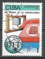 Cuba 1983. Scott #2623 (U) World Communications Year, Bell's Gallow Frame, Telephone * - Cuba