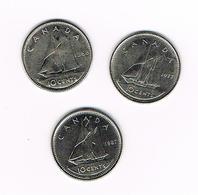 =&    CANADA  3 X 10  CENTS 1968/77/87 - Canada