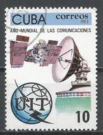 Cuba 1983. Scott #2625 (U) World Communications Year, Satelite, Satelite Dish * - Cuba