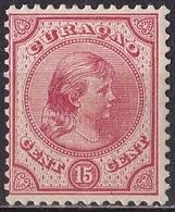 Curacao  1892-95 Prinses Wilhelmina 15 Cent Karmijn NVPH 21 Ongestempeld - Niederländische Antillen, Curaçao, Aruba