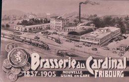 Fribourg, Brasserie Du Cardinal, Nouvelle Usine, Chemin De Fer Et Train à Vapeur (1837-1905) Petit Pli D'angle - FR Freiburg