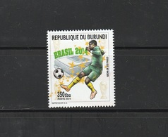 9] Timbre ** Stamp ** Burundi Football Coupe Du Monde Brésil Brasil World Cup 2014 IMPRESSOR - 2010-..: Neufs