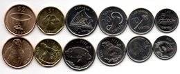 Fiji - Set 6 Coins 5 10 20 50 Cents 1 2 Dollars 2012 - 2014 UNC Lemberg-Zp - Fidji