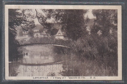 Carte Postale 88. Landaville La Passerelle De L'Île Sur L'étang  Très Beau Plan - France