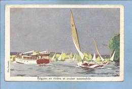Régates En Rivière Et Cruiser Automobile (L. Haffner Max Cremnitz Ligue Maritime Et Coloniale LMC) 2 Scans - Voiliers