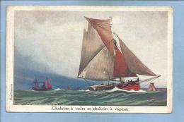 Chalutier à Voiles Et Chalutier à Vapeur (L. Haffner Max Cremnitz Ligue Maritime Et Coloniale LMC) 2 Scans - Pêche
