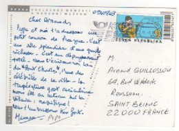 """Beau Timbre , Stamp  """" Tir """" Sur Cp , Carte , Postcard Du 11/08/2003 Pour La France - Tchéquie"""