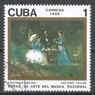 Cuba 1989. Scott #3173 (U) Painting In The Natl. Museum, Familiar Scene, By Antoine Faivre * - Cuba