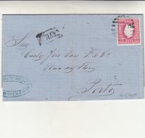Covilha To Porto, 25r Su Cover. Annullo A Sbarre + Cartella Covilha, Arrivo Al Verso. 1873 - Cartas