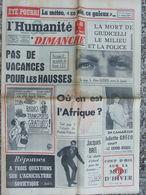 Journal L'Humanité Dimanche (31 Juil 1960) Mort De Giudicelli - L'Afrique - Jacques Brel - Juliette Gréco -Agriculture - 1950 - Today