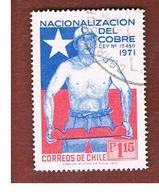 CILE (CHILE)  - SG 695 -  1972  COPPER MINER   -  USED ° - Chili