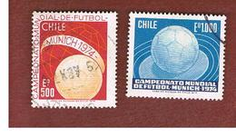 CILE (CHILE)  - SG 722.723    -  1974  WORLD CUP FOOTBALL (COMPLET SET OF 2)  USED ° - Cile