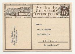 Schweiz Suisse 1930: Bild-PK GRIMSEL (Post-Autobus) Mit O FISCHENTHAL 30.I.30 - Stamped Stationery