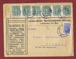 Infla Ab 1 Dez 1921 Ausland Brief Leobersdorf - Lütich 2. Gewichtsstufe - 1918-1945 1. Republik
