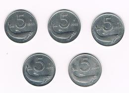 =&   ITALIE  5 X 5  LIRE  1952/53/54/55/69 - 1946-… : République