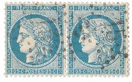 TIMBRES N°60/1  PAIRE 67/68  D1 ; TRÉS RARE  ; ÉTOILE 15 (PARIS) BIEN CENTRÉS  ; TTB - 1871-1875 Cérès