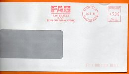 92 CHATILLON FAG FRANCE   2001  Lettre Entière 110x220 N° MM 252 - Marcophilie (Lettres)
