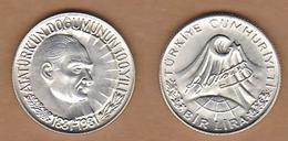 AC - BIRTH CENTENARY OF MUSTAFA KEMAL ATATURK 1 LIRA COMMEMORATIVE SILVER COIN TURKEY 1981 - Turkey