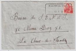 "1939, Aushilfs-Stp. "" Neuchatel "" , #a972 - Poststempel"