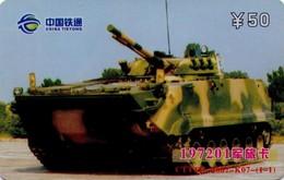 TARJETA TELEFONICA DE CHINA. TANKS 197201 - TANQUE - WAR TANK (081) - Armada