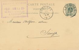 312/27 - Entier Postal Lion Couché LESSINES 1893 Vers SENEFFE - Cachet Du Notaire Gustave Hubert à LESSINES - Entiers Postaux