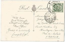 8Eb-470:N° 18: ½p : VALETTA 21 DE 10 MALTA > Boulogne-sur-mer  1910 ; Happy New Year - Malte