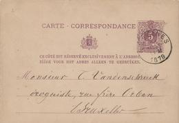 313/27 - Entier Postal Lion Couché LESSINES 1879 Vers Bruxelles - Origine Manuscrite ACREN - Entiers Postaux