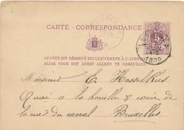 314/27 - Entier Postal Lion Couché LESSINES 1879 Vers Bruxelles - Origine Manuscrite FLOBECQ - Entiers Postaux