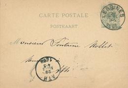315/27 - Entier Postal Lion Couché LESSINES 1880 Vers ATH - Origine Manuscrite WAMBECQ - Entiers Postaux