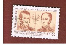 CILE (CHILE)  - SG 740    -  1975 ANN. BATTLES OF JUNIN & AYACUCHO                 -     USED ° - Cile