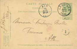 317/27 - Entier Postal Armoiries LESSINES 1905 Vers ATH - Origine Manuscrite OLLIGNIES - Entiers Postaux