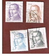 CILE (CHILE)  - SG 765.768    -  1975   D. PORTALES (4 STAMPS OF THE CURRENT SERIE)            -     USED ° - Cile
