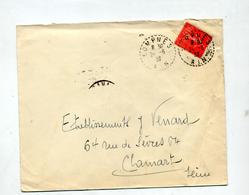 Lettre Cachet Rural Lompnes Sur Semeuse - Postmark Collection (Covers)