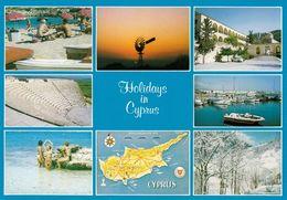 1 AK Zypern Cyprus * Asichten Von Zypern Mit Landkarte - With Map * - Zypern