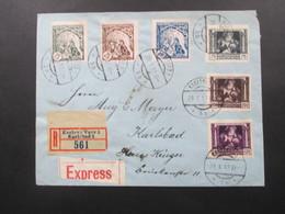 CSSR 29.10.1919 Nr. 34 - 39 Zähnung?? Auf Einem Einschreiben / Expressbrief Karlsbad Haus Krüger - Czechoslovakia