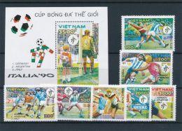 Vietnam Viet Nam MNH Perf Surcharged Stamps & Souvenir Sheet 1990 : World Cup Football Italia (Ms606) - Vietnam