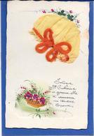 Bonnet Sainte Catherine Jaune à Ruban + Poëme, Fleurs Peintes Main - Mechanical