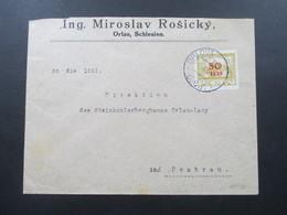 CSSR 1920 Abstimmungsgebiet Ostschlesien Nr. 11 EF Stempel Orlova. Orlau, Schlesien. Geprüfter Beleg!! - Briefe U. Dokumente