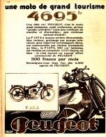 """PUB  MOTO """"  P.107.S   PEUGEOT """"  1930 (1) - Moto"""